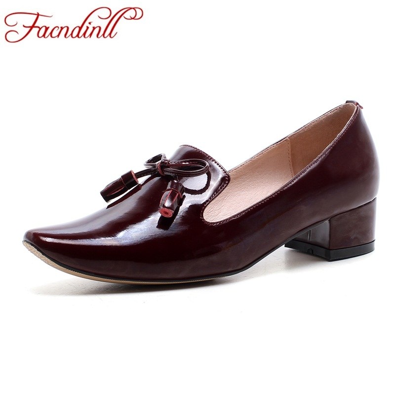 FACNDINLL shoes 2018 new fashion patent leather women pumps shoes med heels round toe black wine red woman dress causal shoes facndinll 2018 spring women pumps shoes med heels pointed toe rivets patent leather rome style shoes woman casual shoes pumps