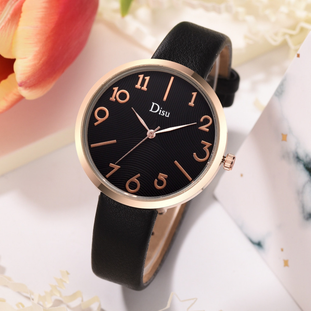 Disu Women's Watches Luxury Fashion Lady Leather Belt Watch Creative Number Analog Quartz Watch Montre Femme Simple Clock