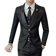 2018 High-end Jacquard Mens Suits Red Blue Floral Print set 3 Pieces Designs Asian size Male Slim Fit Suit Wedding Tuxedos