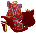 Fashion African Wine Shoe And Bag Set For Party In Women Set Nice Italian Design Shoes With Matching Bag For Wedding BCH-16