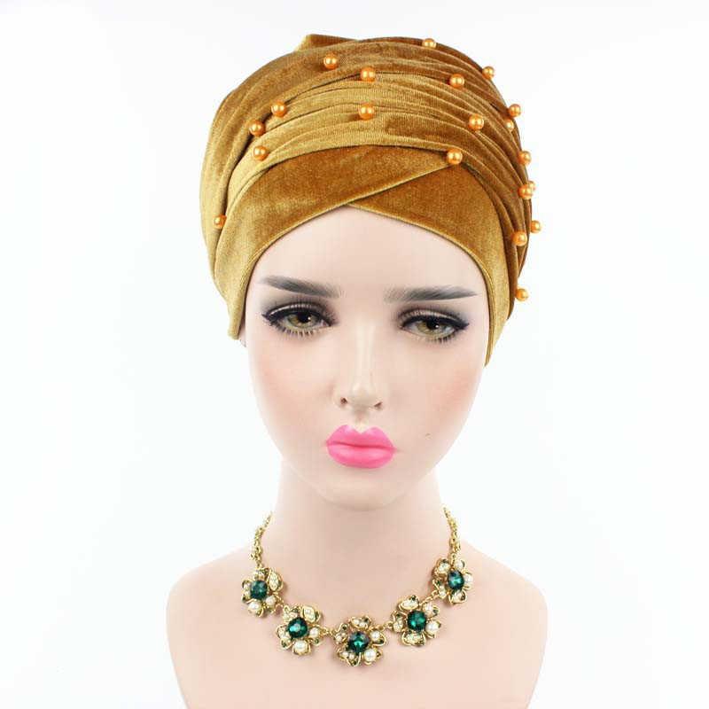 RUNMEIFA חדש עיצוב מוסלמי מוסלמי Skullies & בימס קטיפה צעיף כובע עבור גבירותיי יוקרה מותג פרל ראש צעיף אפריקאי לעטוף כובע