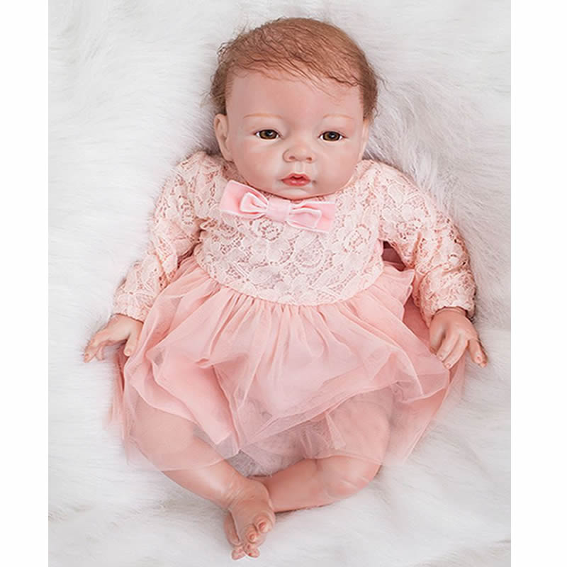 Cloth Body Silicone Reborn Baby Doll 20 Inch Real Touch Newborn Babies Girl Princess Toy With Brown Eyes Kids Birthday Xmas Gift 22 inches soft silicone reborn baby dolls cloth body real looking newborn alive girl babies boneca toy kids birthday xmas gift