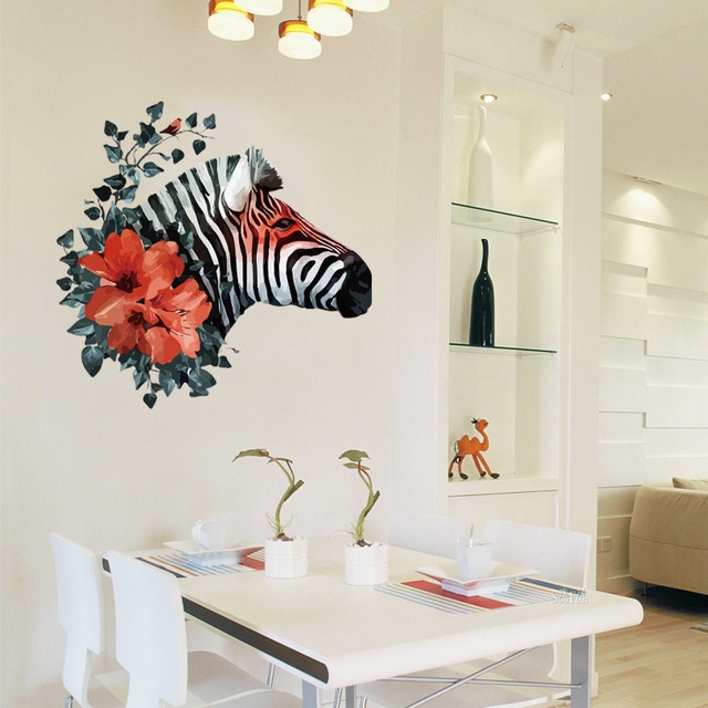 Horse Zebra Wall Stickers Flower Home Decor Decoration Waterproof DIY  Wholesale Bulk Accessories Supplies Items Stuff