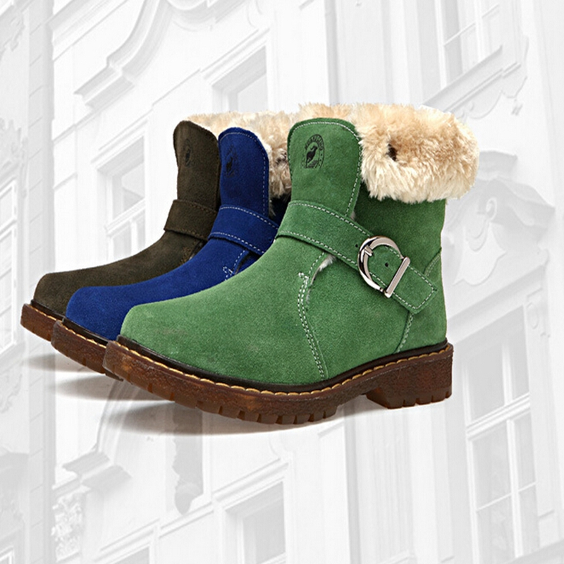 ФОТО 2016 new   Real Leather  children's winter warm  boots  kid  velvet padded shoes Boy and Girl snow boots kids hiking boots