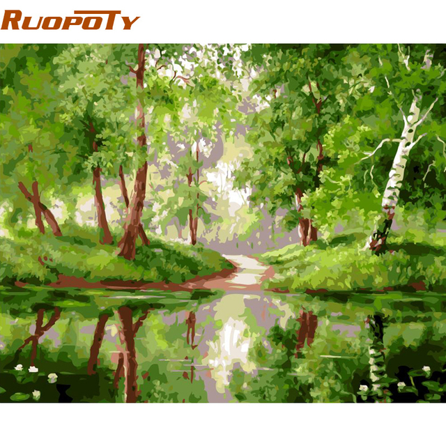 RUOPOTY Frame Green Lake DIY Painting By Numbers Landscape Wall Art Canvas Picture Paint By Numbers For Home Decor 40x50cm