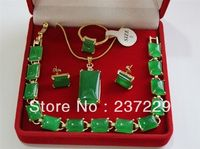 Wholesale price FREE SHIPPING ^^^^Beautiful AAA natural green stone 18KGP necklace bracelet earring Jewellery set