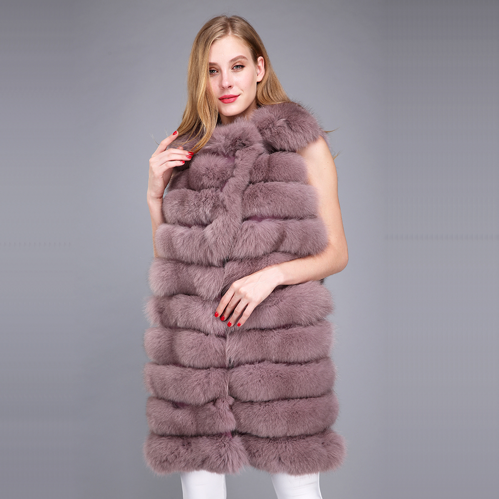 Gray Véritable Style Brown Nouveau brown Gilet De Renard Col pure Fourrure Long Gray Argenté En coffee silver Pleine deep Femmes Grand Deep pink purple Avec Naturelle White rgH7rOqwx