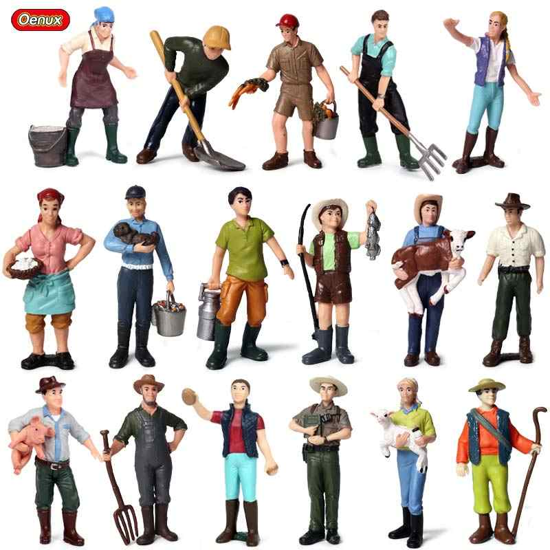 Oenux New Farmer People Model Simulation Farm Staff Feeder Action Figures Pig Animals Figurine Miniature Lovely Toys For Kids