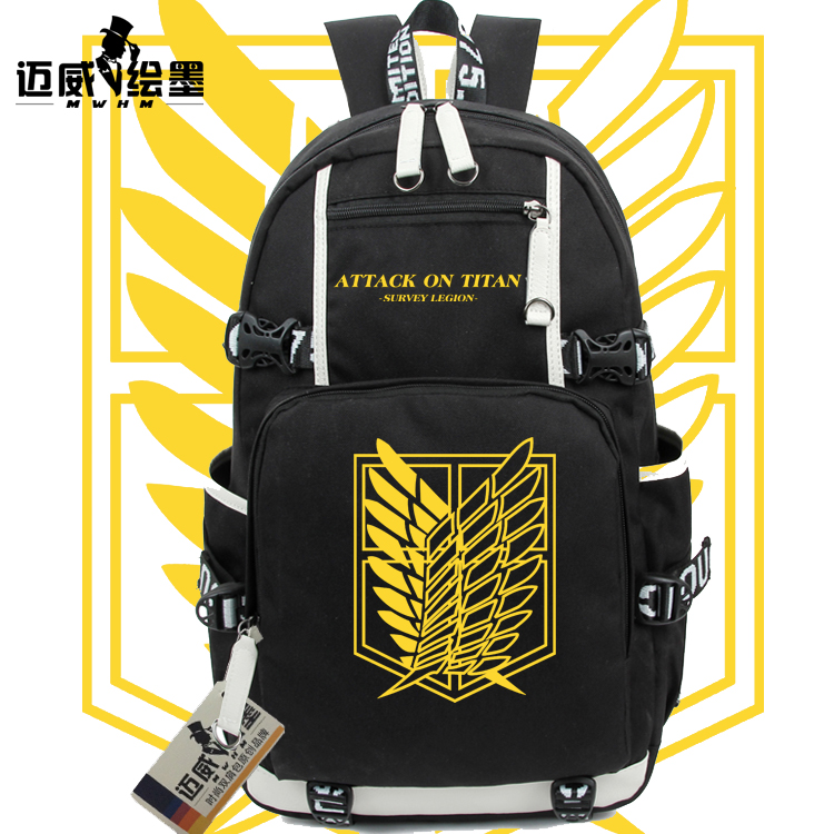 все цены на Attack on Titan Shingeki no Kyojin Gold color fashion Leisure canvas College winds man woman Backpacks High capacity schoolbag