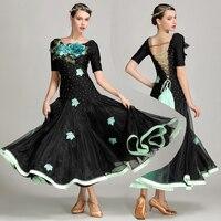 New Ballroom Dance Competition Dresses Short Sleeve Black Women Standard Viennese Waltz Dress Ladies Performance Wear DNV10226