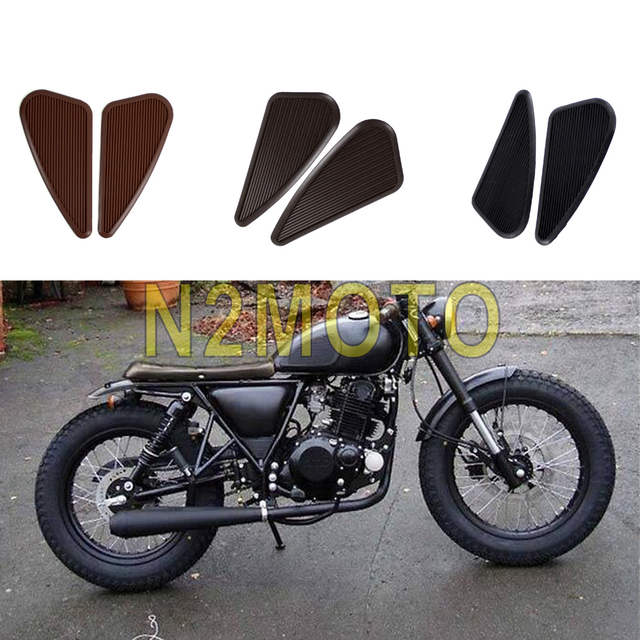 US $9 35 15% OFF|Black Brown Slim Motorcycle Rubber Vintage Gas Tank Knee  Pad Side Panel Traction Pad Sticker for Harley Cafe Racer Classic-in Decals