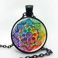 Handmade henna colar símbolo om yaga budismo Mandala Arte Jóias de Vidro Da Foto Colar de Pingente de Colar