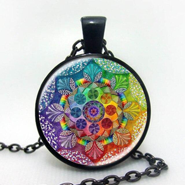 Handmade Henna Yaga Necklace Om Symbol Buddhism Mandala Necklace