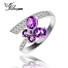 Jewelrypalace four Stone Pure Amethyst Ring Strong 925 Sterling Silver Elegant Jewellery Model Gem stone Ring Girls High quality Jewellery