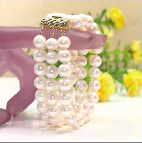 FREE SHIPPING HOT sell new Style >>>>CHARMING 3 ROW 8-9MM WHITE SOUTH SEA PEARL BRACELET 7.5-8