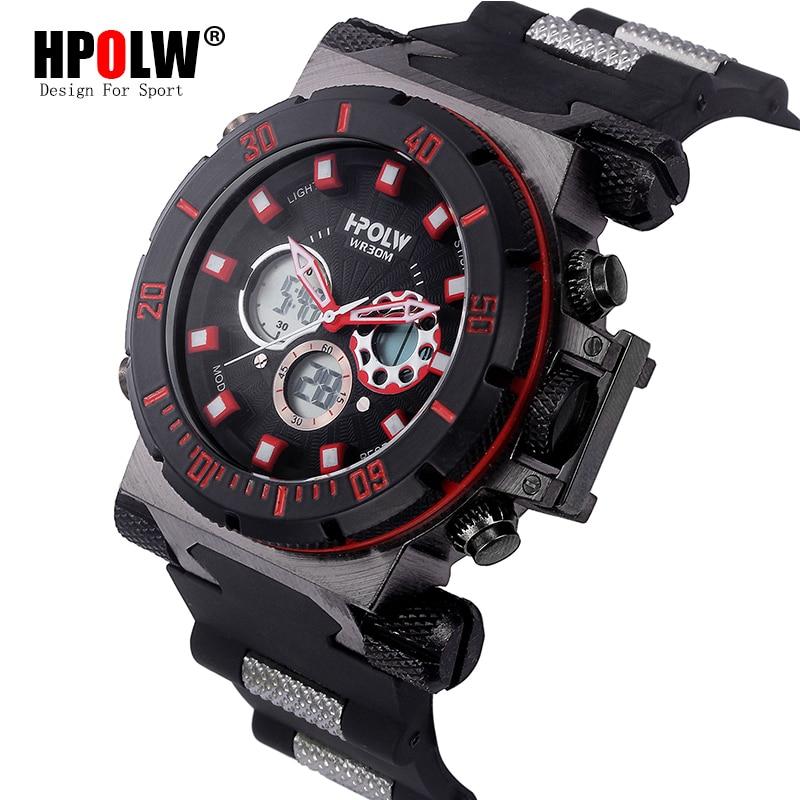 LED Digital Watch Clock Men New Brand HPOLW Black Men Military Quartz Electronic Waterproof Sport Shock Multifunction Watches hpolw серебристый цвет 11