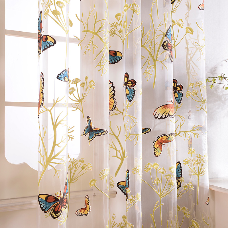 Top Finel Butterfly Curtains Tulle Window Curtain For