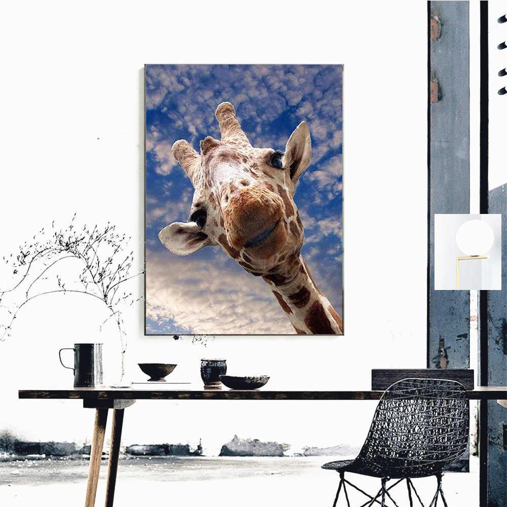HUACAN 5D יהלומי ציור ג 'ירפה צבע עם יהלומי בעלי החיים יהלומי רקמת מכירה מלא כיכר/עגול תמונה של Rhinestones