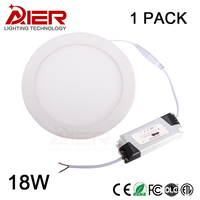 AC 85 265V LED Panel Light 18W LED Ceiling Light Round Ultra Thin LED Downlight Indoor