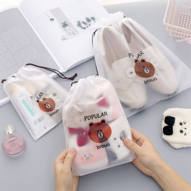 1pcs Bear Storage Bag Stationery Organizer Transparent Matte Office Supply Desk Supplies Desktop Storage School Office Supplies