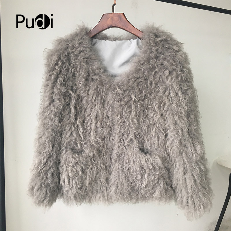 CR005 New ! fashion ! genuine Mongolia sheep fur /fleece fur  knitted fur coat  grey color short style with pockets decorate