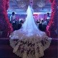 5 metros de borde completo con lentejuelas de encaje de dos capas de largo velo de novia con peine blanco velo de novia color marfil 2019