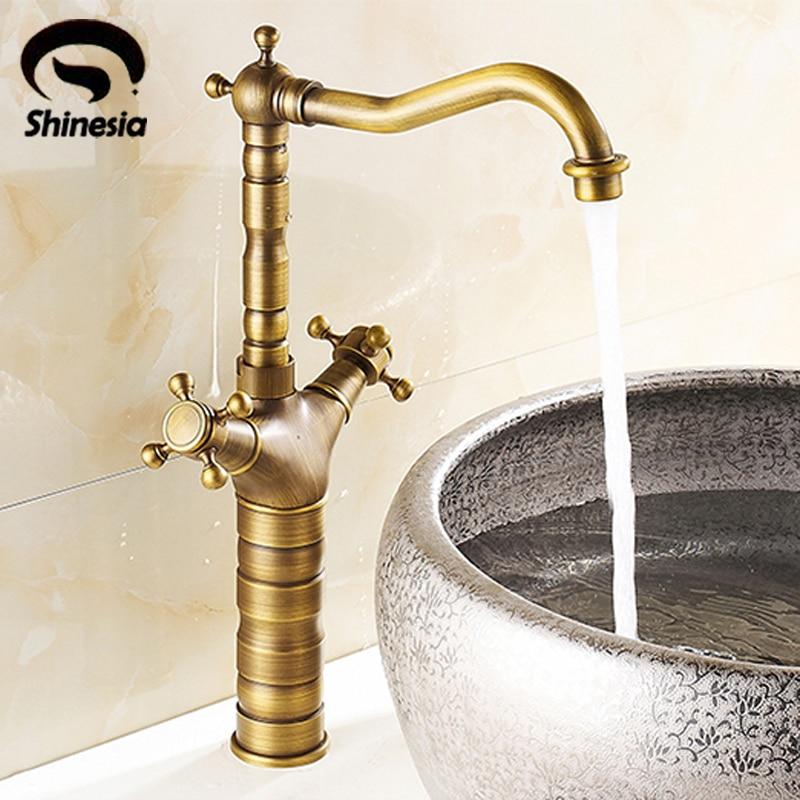 ФОТО Taller Antique Brass Bathroom Centerest Sink Faucet Dual Handle Undercounter Mixer Tap