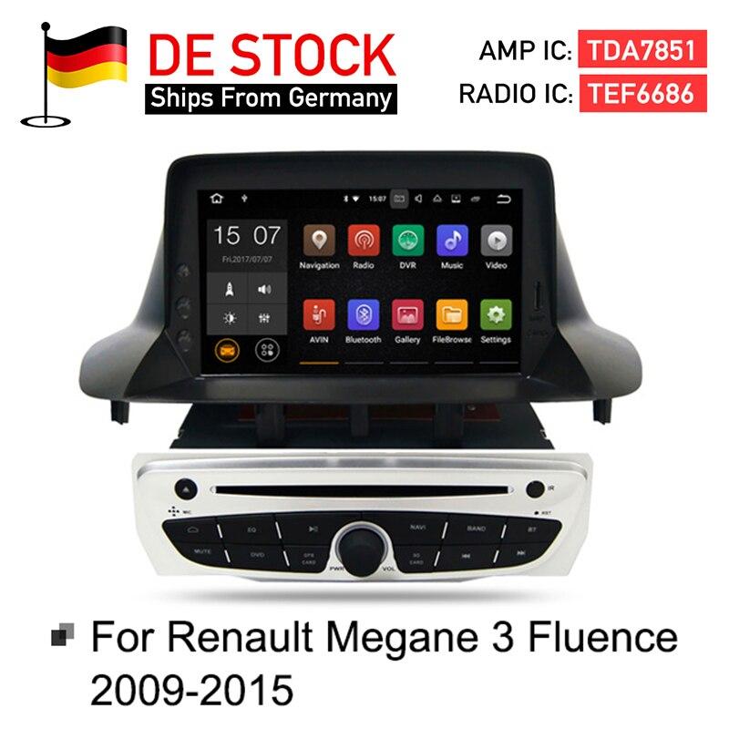 Android 7.1 Autoradio Lecteur DVD GPS Glonass Navigation pour Renault Megane 3 Fluence 2 GB 16G Vidéo Multimédia Radio