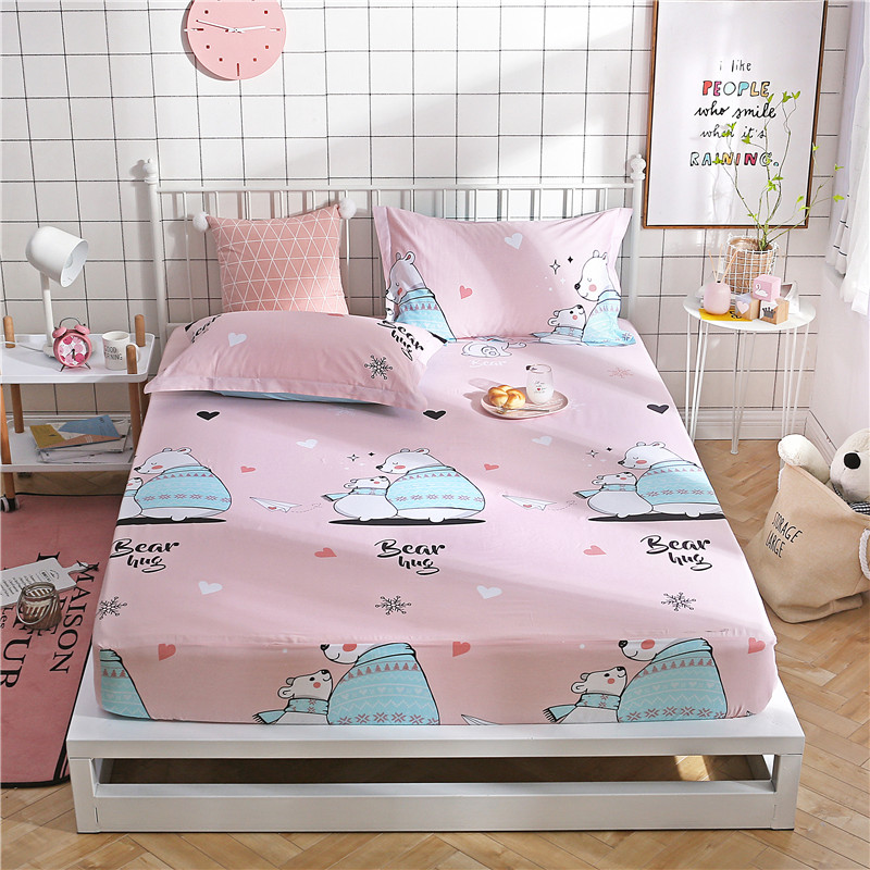 Cartoon Bear Pattern Polyester Fabric Bedding Sets Fitted Sheet Bed Sheets Comfort Mattress Cover Bedding Pillowcase Queen Size