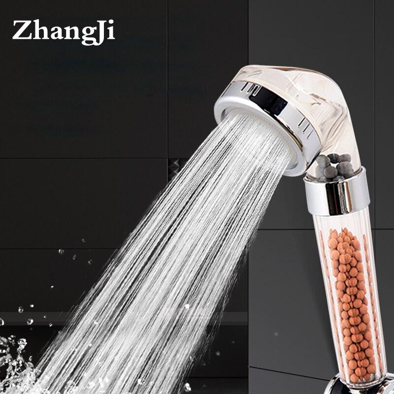 ZhangJi Bad Wasser Therapie Dusche Anion SPA Dusche Kopf Wasser Wassersparregen Dusche Filter Kopf Hochdruck ABS Spray
