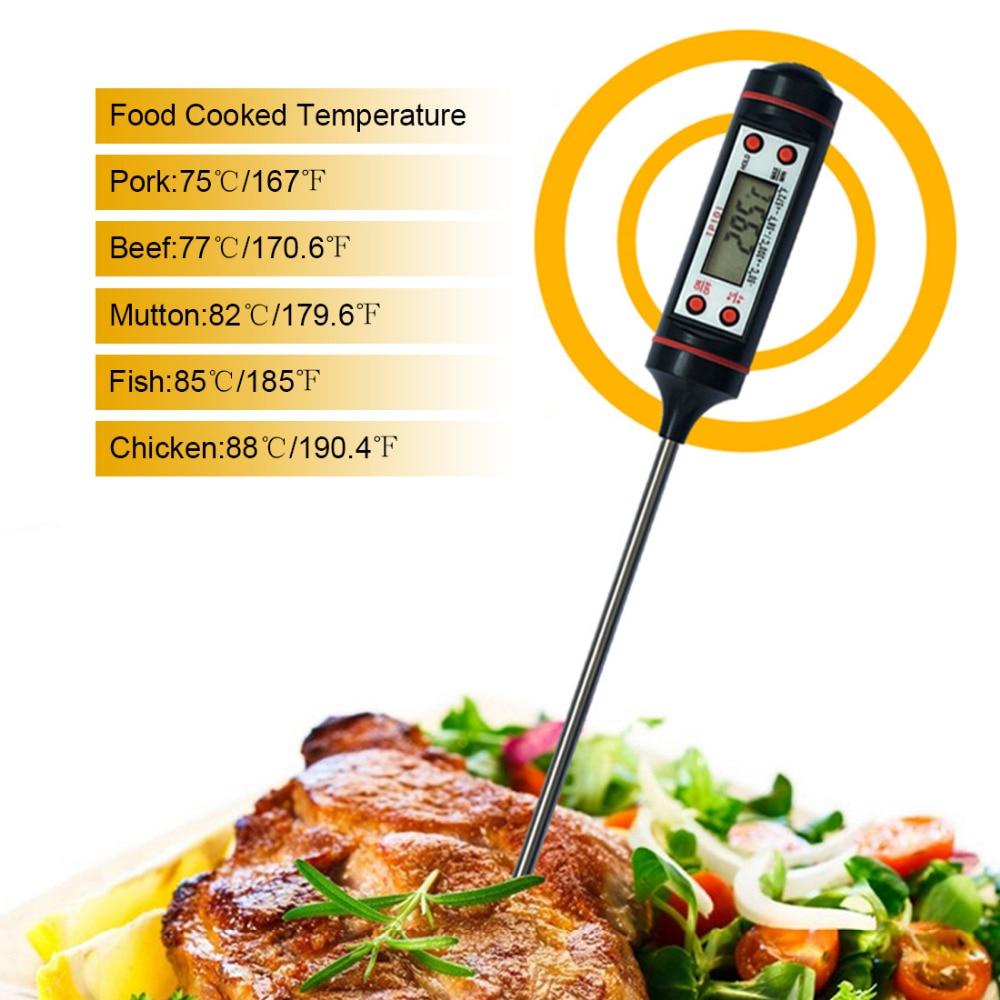 Hea kvaliteediga vedelkristallekraaniga digitaalne sond Cooking Termomeeter toidu temperatuuriandur BBQ kööki