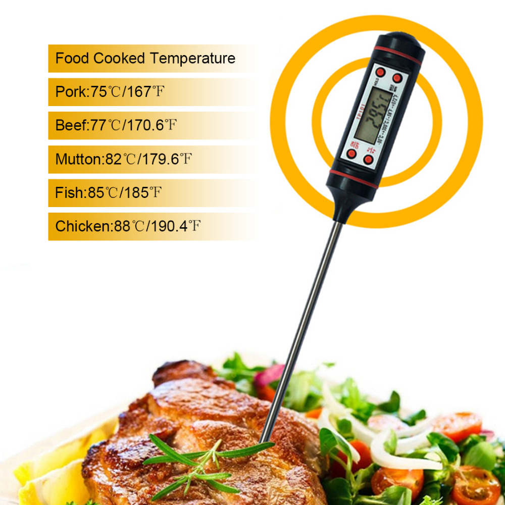 Buena calidad Pantalla LCD Sonda digital Termómetro de cocción Sensor de temperatura de alimentos para cocina de barbacoa