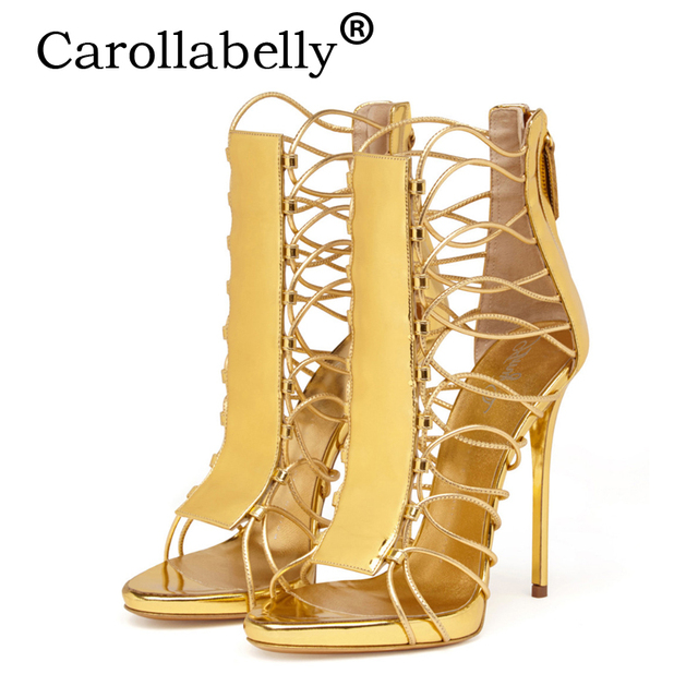 0dd7c9976d17 Carollabelly New Summer Women High Heels Gold Sandals Flame Party High heel  Sandal Shoes Wedding Shoes Big Size 34-46