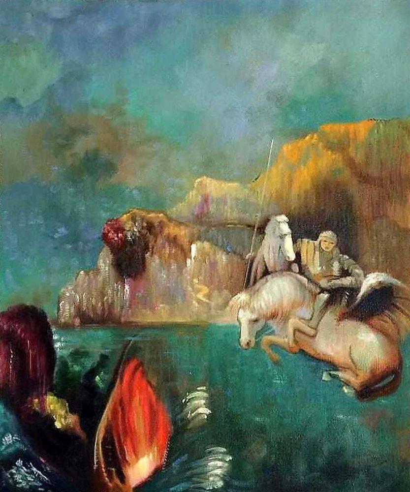 Symbolisme célèbre toile peinture murale Saint George et le Dragon, 1909 par Odilon Redon décor à la maison Art peinture à la main peint