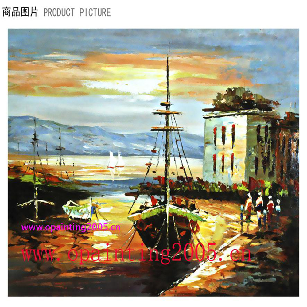 Bonne qualité quai paysage fait à la main moderne toile couteau peinture à l'huile mode Art artisanat peintures murales pour la décoration de la maison