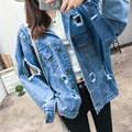 Bomber Jacket Women  2016 Fashion Hole Denim Outwear Coat Streetwear Short Loose Casual Pockets Single Breasted Vintage Tops