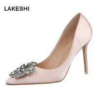 Women Pumps Elegant Buckle Rhinestone Silk Satin High Heels Shoes Heeled Sexy Thin Pointed Single Shoes