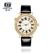 2017 New Arrive Women's Luxury Shiny Crystal Rhinestones Dial Faux Leather Analog Wrist Watch Popular Product Ladies Watches