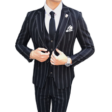 Mens Striped Dress Suit Black Navy Blue High-end Business Wedding Bridegroom Banquet Man Blazer 3 pieces Jacket + Vest + Pants(China)