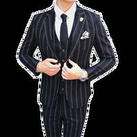 Mens Striped Dress Suit Black Navy Blue High end Business Wedding Bridegroom Banquet Man Blazer 3 pieces Jacket + Vest + Pants