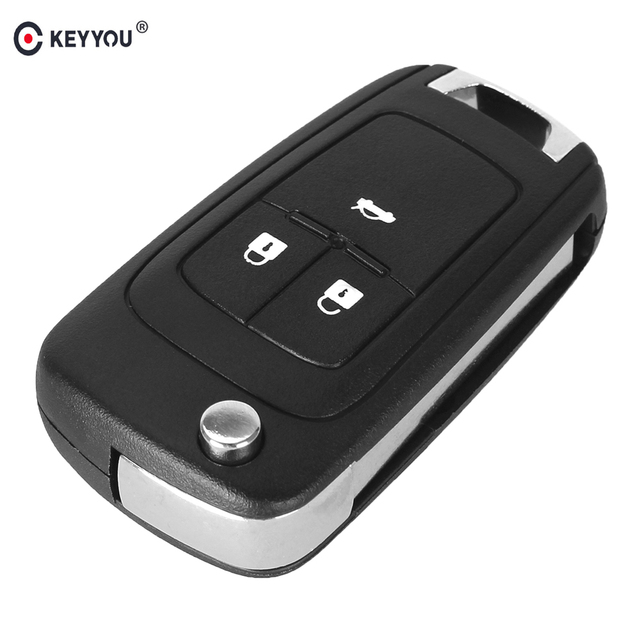 KEYYOU 10 pçs/lote Virar Folding Chave Shell Para Chevrolet Cruze Caso Chave Remoto Fob Keyless Botão 3 HU100 Uncut Lâmina com o logotipo