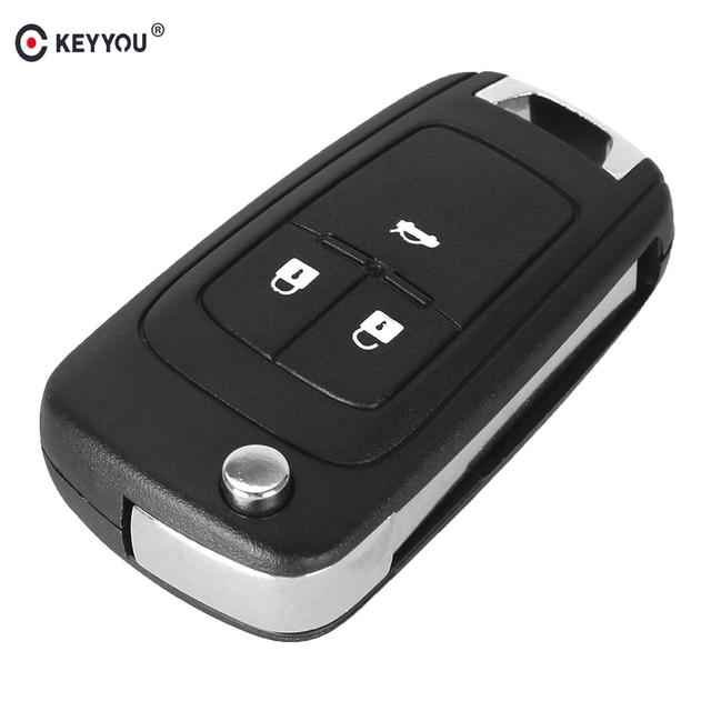 KEYYOU 10 unids/lote plegable clave Shell para Chevrolet Cruze de llave de control remoto caso sin llave Fob 3 sin cortar botón HU100 hoja con logo