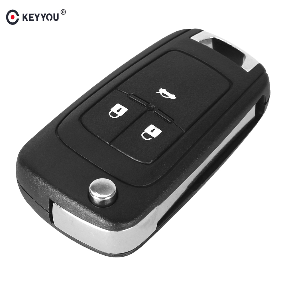 KEYYOU 10PCS/LOT Flip Folding Key Shell For Chevrolet Cruze Remote Key Case Keyless Fob 3 Button Uncut HU100 Blade With logo free shipping 3 button remote keyless case for hyundai sonata 10pcs lot