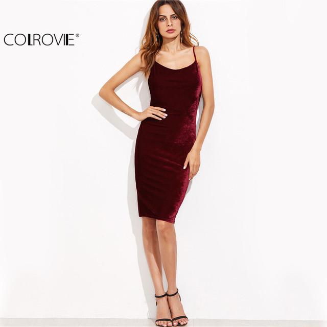 COLROVIE Burgundy Velvet Cami Bodycon Dress Autumn Women Party Dress Sexy Club Dresses Elegant Ladies Backless Sheath Midi Dress