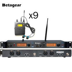 Betaggear UHF Wireless In Ear Headphone Stage Monitor System with 9 Receivers for Stage Performance Selectable Audio Frequency