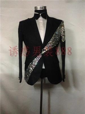 Luxury Customs Making Rhinestone Beading Sewing Black Beading Jacket Club/show/red Carpet/tuxedo Jacket