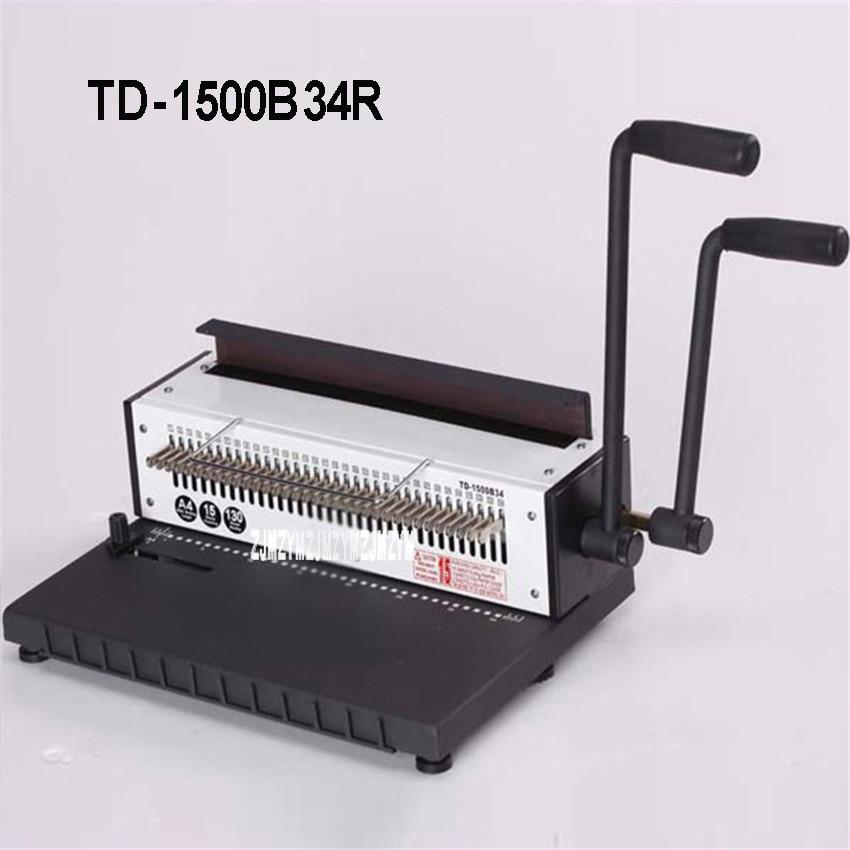TD 1500B34R Manuelle Spirale Draht Bindung Maschine Runde 4,5mm 34 Stanzen Loch Fotoalbum A4 Papier Datei Binder Puncher Maschine