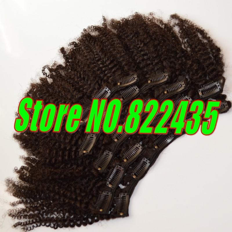 100% Brazilian Human Hair Clip in Hair Extension 6pcsSet 100-125g Brazilian Virgin Kinky Curly Hair Weave Full Head_conew1
