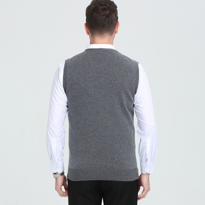 Image 2 - Cashmere sweater mens V collar winter  vest fashion youth business casual knitted sweater coat brand