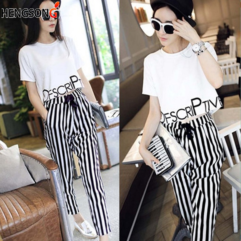 Womens Set Summer White Letter Printed T Shirt Sexy Cropped Tops Drawstring Pants Calf Length Casual Tracksuit Women Clothing
